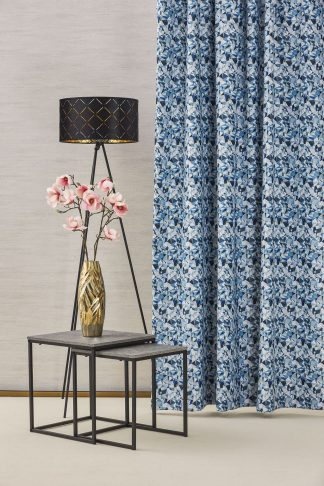 Mozaik dim out sötétítő függöny - kék